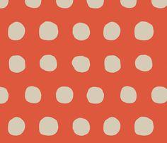 Jumbo Dots in tangerine/khaki fabric by domesticate on Spoonflower - custom fabric