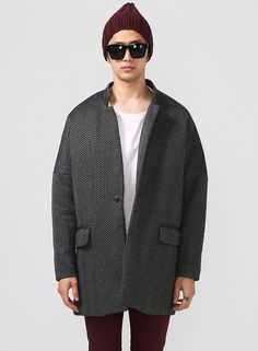 Oversized Drop Shoulder Herringbone Tweed Coat $94.00