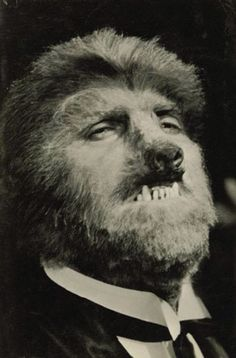 A test shot of the makeup by Jack Pierce. It is reported that Hull opposed this heavy makeup because the script called for his character Wilfred Glendon's wife to recognize him while in Werewolf form.