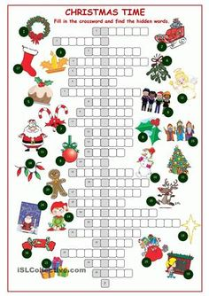 Christnas Time Crossword Puzzle worksheet - Free ESL printable worksheets made by teachers Xmas Games, Holiday Party Games, Christmas Games, Christmas Activities, Christmas Holidays, All Things Christmas, Christmas Worksheets, Christmas Printables, Christmas Crossword Puzzles