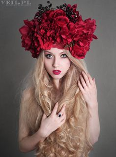 Headdress floral flower red romantic burlesque haute couture crown roses headpiece wig by VeilFascinators on Etsy