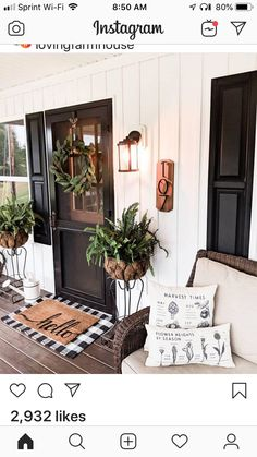 Using Rustic Farmhouse Front Porch Decor ideas to decorate your porch is a great way to bring attention to your home without spending a lot of money. The front of the house is one of the most visited areas in… Continue Reading → Modern Farmhouse Porch, Farmhouse Front Porches, Small Front Porches, Farmhouse Decor, Farmhouse Style, Farmhouse Ideas, Modern Porch, Rustic Style, Rustic Decor