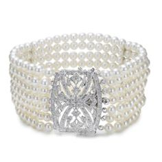 Mastoloni Deco Cuff bracelet featuring 4-4.5mm white cultured pearls and .90 cts twt brilliant white diamonds set in 18k white gold