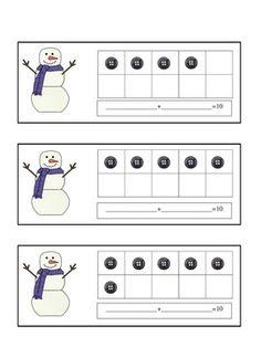 Snowman Ten Frames Math Practice Booklet FREE