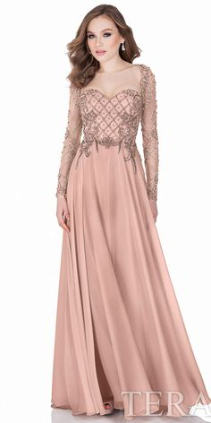Long Sleeve Beaded Evening Gown by Terani Couture #edressme