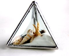 One Of A Kind Stained Glass Pyramid Beachscape by LAGlass on Etsy