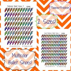 Multicolor Ballet & Dance Shoes! | Free Printable planner Stickers from plannerproblem101.com! Download for free at https://plannerproblem101.com/2016/09/16/multicolor-dance-ballet-shoes-free-printable-planner-stickers/