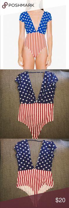 NWT American Apparel American Flag bodysuit NWT American Apparel size Large & Small American Flag bodysuit American Apparel Tops Tees - Short Sleeve