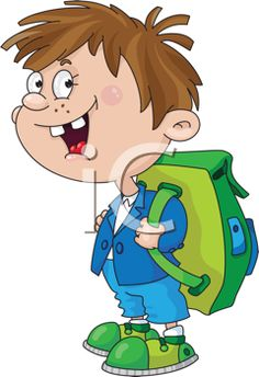 iCLIPART - Royalty Free Clipart Image of a Schoolboy With a Backpack