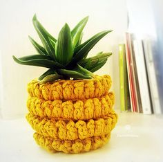 Free pineapple plant pot holder cover crochet pattern. Pineapple all year round! Use #pomdamoore & redirect when you share your creations!