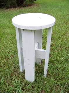 Vintage Cottage Chic White Wood Round Side by AlloftheAbove, $50.00