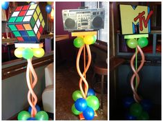 80s Centerpieces around the room by Ideal Party Decorators - www.idealpartydecorators.com