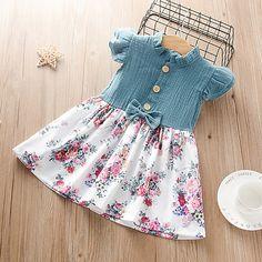 Baby Girl Dress Patterns, Baby Dress, Cute Dresses, Dresses With Sleeves, Summer Dresses, Girls Dresses Online, Baby Girl Bows, Knee Length Shorts, Sweet Dress
