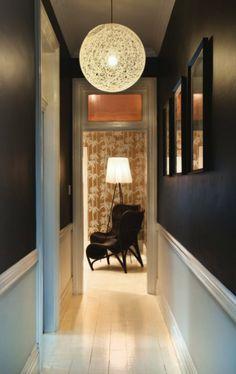 Black/dark brown walls
