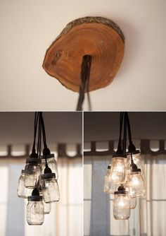 "DIY Mason Jar Chandelier that ""sprouts"" from a slab of wood Home Diy, Diy Chandelier, Diy Lamp, Mason Jar Diy, Mason Jar Chandelier Diy, Light Fixtures, Home Decor, Mason Jar Light Fixture, Mason Jars"