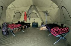 Interior view of Cabelas Big Horn III Tent, taken from the entrance, the optional, attached vestibule is behind the camera. Camping Glamping, Camping Life, Camping Gear, Camping Stuff, Backpacking, Family Tent, Family Camping, Camping Gadgets, Camping Hacks