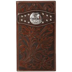 298cff22d5fd9 Ariat Tooled Cross Concho Rodeo Wallet (Brown) ( 45) ❤ liked on Polyvore