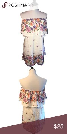 FLORAL TUBE TOP DRESS Beautiful Floral Tube Top Dress Dresses Strapless