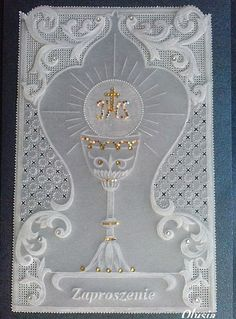 Pergaminowa pasja :: Zobacz temat - Pergaminki Olusi Jewish Crafts, Baptism Cards, Parchment Cards, Communion Invitations, Holy Rosary, Crochet Decoration, Religious Images, First Holy Communion, Card Maker