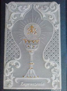 Pergaminowa pasja :: Zobacz temat - Pergaminki Olusi Première Communion, First Holy Communion, Jewish Crafts, Baptism Cards, Parchment Cards, Communion Invitations, Holy Rosary, Crochet Decoration, Religious Images