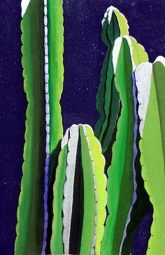 Cactus In The Desert Moonlight by Karyn Robinson Cactus In The Desert Moonlight Painting Cactus Painting, Time Painting, Cactus Art, Southwestern Paintings, Southwestern Art, Fine Art Amerika, Moonlight Painting, Desert Art, Plant Drawing