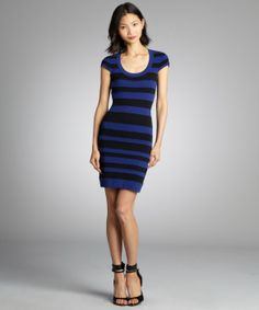 French Connection cobalt and black striped cotton blended stretch knit dress