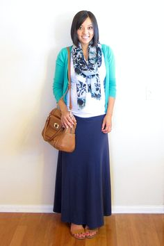 from putting me together: White Tees for the Win (white tee, colored cardigan, scarf and maxi skirt)