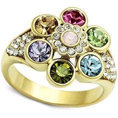 Crystal Flower Ring Multi-color Size 5 6 7 10 Blue Green Lavender Gold Plated #Unbranded #Cocktail