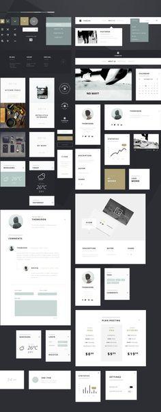 ミニマルスタイルが美しい!直感的に使える無料UIデザインキット55+ Elements UI Kit - PhotoshopVIP