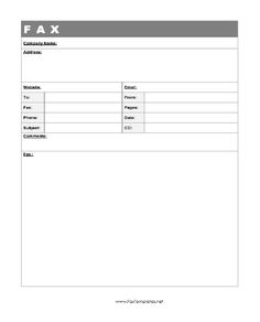 A business wishing to prominently include its Website URL and email address can make use of this fax template. Free to download and print