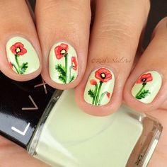 """Ruth on Instagram: """"Hello everyone! Today I'm wearing another gorgeous polish by @shoplvx from their summer 2015 collection. This is two coats of """"Avenal"""", a perfect creamy pistachio color. I also added some poppies with acrylic paint. What do you think of these?"""""""