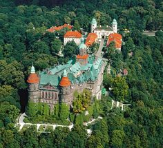 Ksiaz Castle, Poland. It was built in 1288-1292 under Bolko I the Strict. Architectural style:	Gothic, Baroque, Rococo