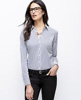 Wide Stripe Perfect Shirt - We love the classic appeal of a striped button-down with a touch of modern stretch. Pair with slim pants and a skinny belt for an effortlessly pulled-together look. Point collar. Long sleeves with button closure. Button front. Forward shoulder seams. Shirttail hem.