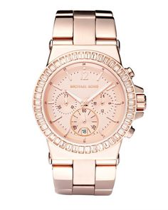 Michael Kors Baguette-Bezel Watch, Rose Gold.