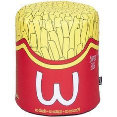 Woouf Fries Bean Bag (3.245 UYU) ❤ liked on Polyvore featuring home, furniture, chairs, red, red bean bag chair, bean bag, red chair, bean-bag chair and red bean bag
