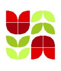 Contemporary cross stitch pattern of a pair of large retro tulips. Modern cross stitch design. Mid Century modern motif.