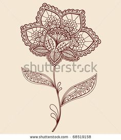 Hand-Drawn Abstract Lace Henna Mehndi Flowers and Paisley Doodle Vector Illustration Design Element by blue67design, via Shutterstock