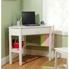 Simple Living Antique White Wood Corner Computer Desk - Overstock™ Shopping - Great Deals on Simple Living Desks- I have a small corner! Kids Corner Desk, White Corner Desk, Corner Writing Desk, Kid Desk, Corner Space, Corner Vanity, Writing Table, Cozy Corner, Homework Desk