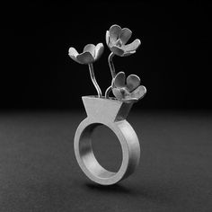 Flower Vase with custom flowers ring sterling silver by objeteria
