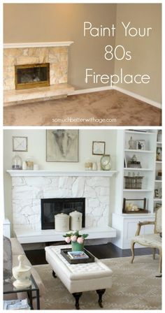 Paint your 80s fireplace by somuchbetterwithage.com