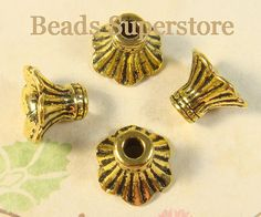 11mm x 8mm Antique Gold Flower Bead Cap Nickel by BeadsSuperstore