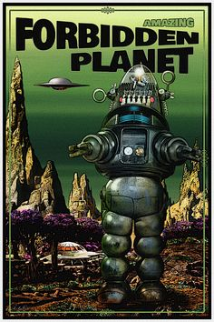 original Forbidden Planet Poster, by Robert Bertie Classic Sci Fi Movies, Sci Fi Horror Movies, Scary Movies, Art Deco Posters, Vintage Posters, Science Fiction Art, Fiction Movies, 70s Sci Fi Art, Retro Robot