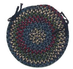 $5 Off when you share! Colonial Mills MN Midnight Braided Chair Pads Indigo Rug