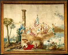Jean Jacques François Le Barbier (French, 1738–1826). America from a set of The Four Continents.  The Metropolitan Museum of Art, New York. Purchase, Mr. and Mrs. Claus von Bülow Gift, 1978 (1978.404.1) | Commissioned by Louis XVI, this piece belongs to a set of four wall hangings and fifty-six pieces of furniture upholstery depicting the four continents: America (shown here), Europe, Asia, and Africa.