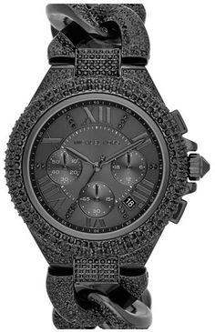 MICHAEL Michael Kors Michael Kors 'Camille' Crystal Encrusted Chain Link Watch, 44mm