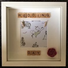 Cute wedding day scrabble frame ❤️ To order message me at https://www.facebook.com/1craftycow/