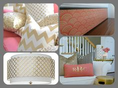Stair Ideas ~ Give some love to coral and gold! Clockwise from top right: Rouge Collection FANS Plaque, by Tribute Designs on Etsy, http://www.tributedesigns.etsy.com/; Living Room design, http://www.11magnolialane.com/; Regina Andrew Modern Luxe Gold Chandelier, http://www.zincdoor.com/; Gold Pillows, http://www.caitlinwilson.com/ #etsy #homedecor #stair