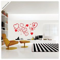 Shoply.com -Love hearts vinyl wall sticker - (unweeded and application tape provided)