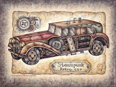 """Купить Картина в раме """"Ретро-автомобиль (стимпанк)"""" - бежевый, коричневый, серый, мужчине Steampunk Home Decor, Steampunk Crafts, Steampunk House, Steampunk Drawing, Steampunk Kunst, Decoupage Vintage, Decoupage Ideas, 3d Paper Crafts, Graphic 45"""