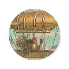 Thanksgiving Turkeys in a Blimp Round Sticker
